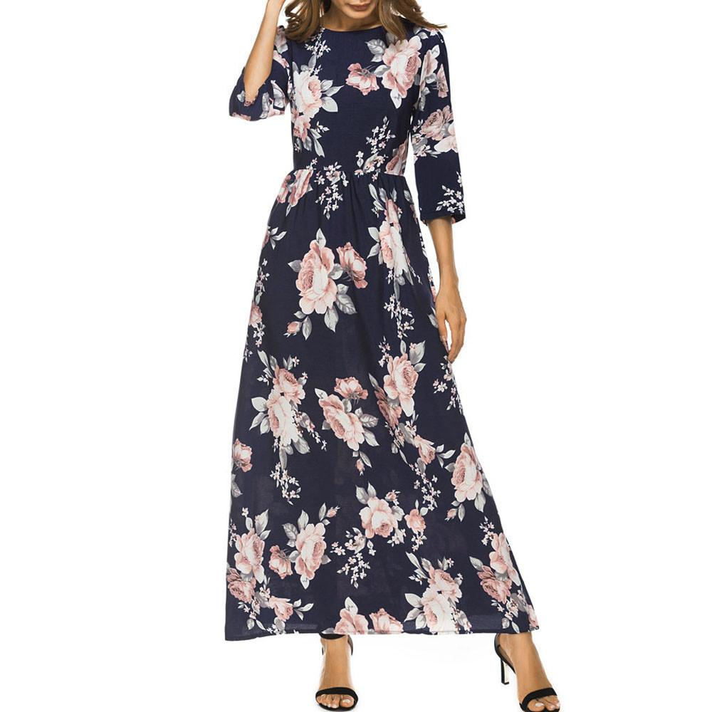 Hot Sale Maxi Dress Women Lovely Floral Printing Half Sleeve Boho Style  Autumn Party Dresses Long Dress Robe Longue Vestidos Floral Sundress Women  Summer ... ffae0b0f0