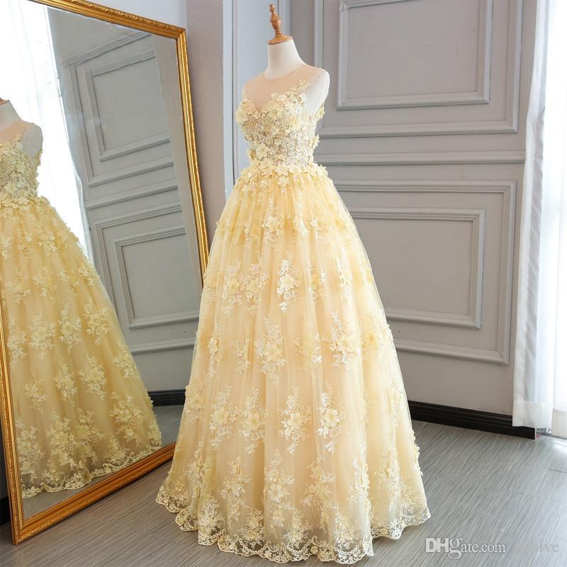 Vestido de fiesta amarillo Vestidos de fiesta largos 2018 Elegante novia Flores florales 3D Encaje Hasta el suelo Vestidos de noche Vestido de fiesta Vestidos de compromiso