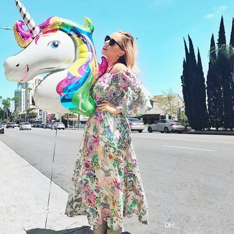 Big Size Unicorn Balloons Party Supplies Foil Balloons Kids Cartoon Animal Horse Float Globe Birthday Party Decoration 110*80cm