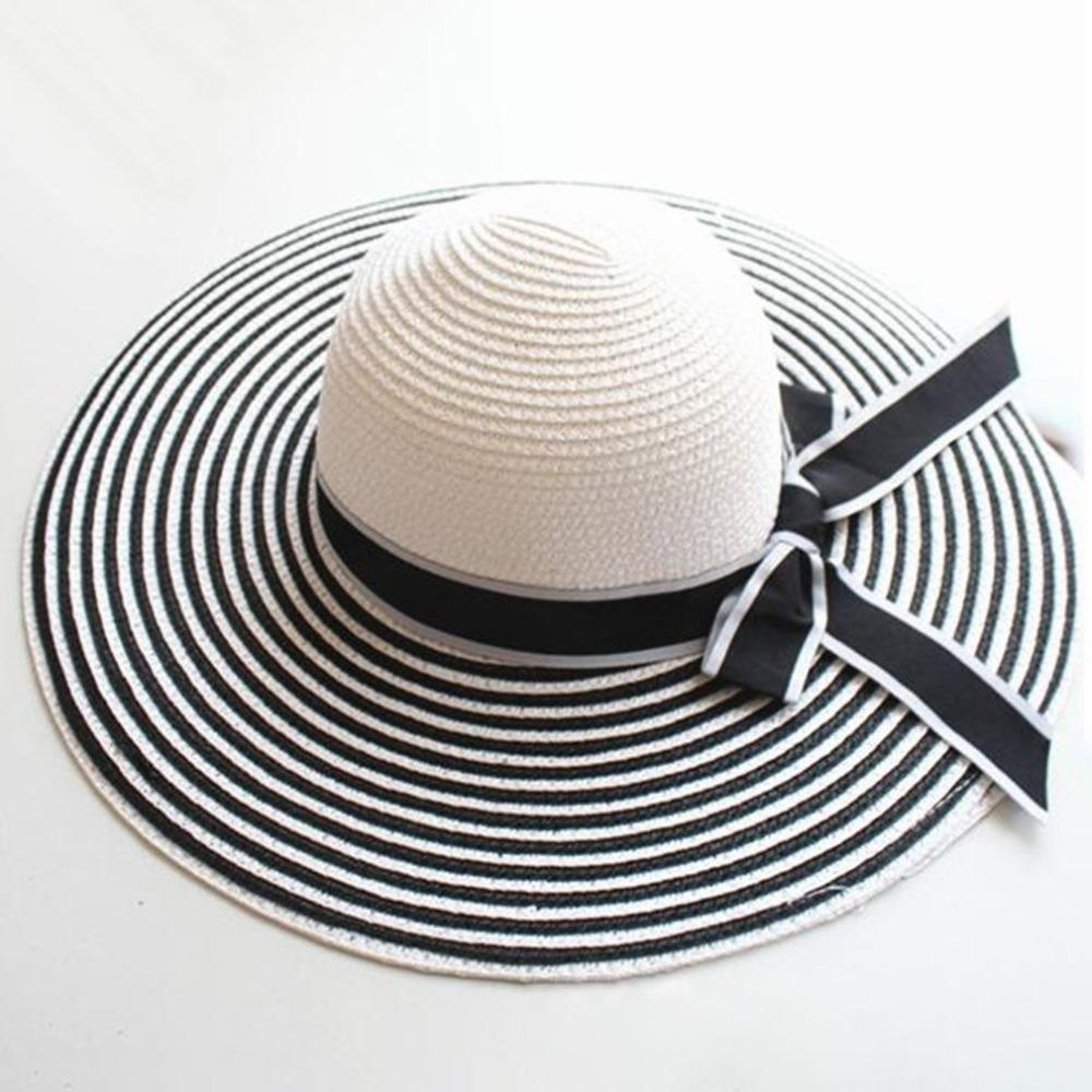 267bb86df Summer big wide brim straw hat women striped bowknot Beach Hat foldable sun  block UV protection panama hats for women sunhats C2