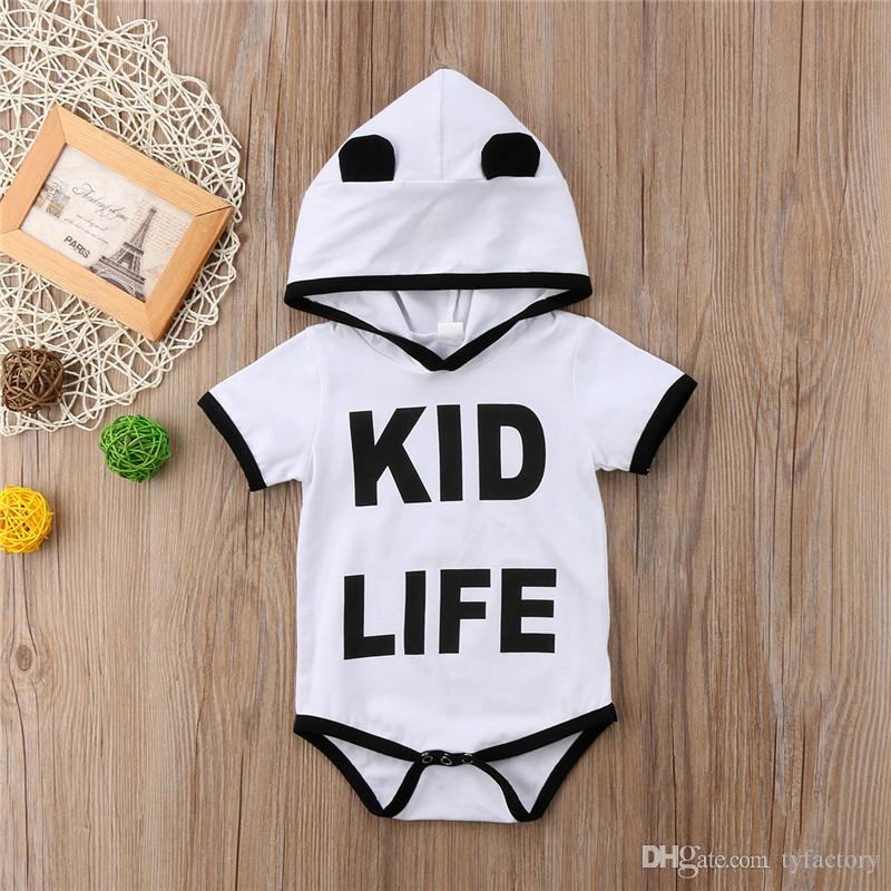 1872c24294 2019 Newborn Baby Girl Boy Clothes Hooded Romper Onesies Letter Print  Jumpsuit Kid Clothing Child Adorable Bodysuit Sunsuit Playsuit Toddler From  Tyfactory, ...