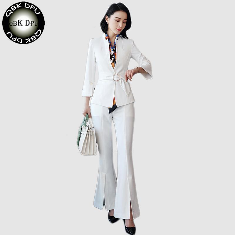 09a425b83 Compre 2018 Nuevas Mujeres Traje Pantalón Oficina Uniformes Diseños Formales  Señoras Negocios Desgaste Carrera Blanco Blazer Con Pantalón Para El Trabajo  S ...