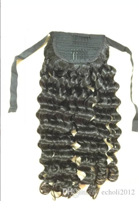 Curly Ponytail Human Hair Drawstring Ponytail Extensions Tail Postiche Queue De Cheval En Cheveux Humains 120G jet black Factory Outlet