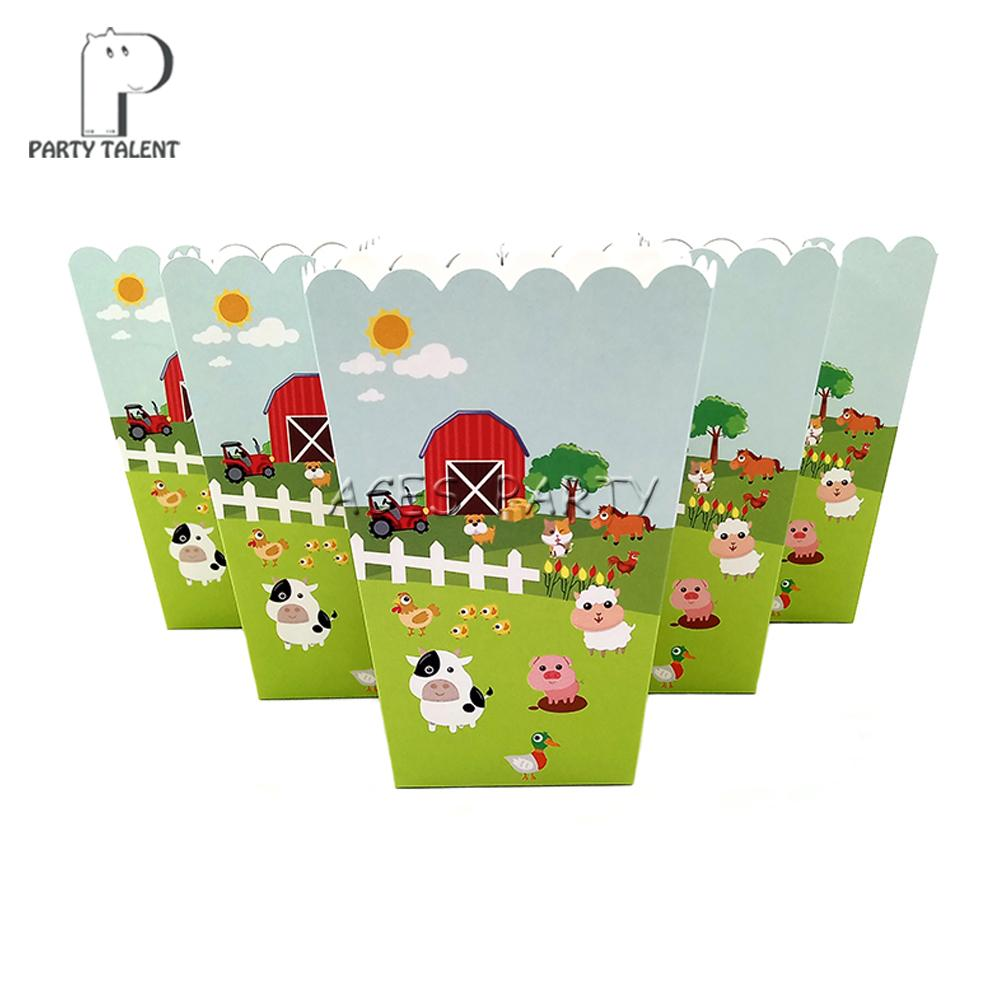 Popcorn Box For Kids Children Farm Animals Theme Birthday Party Baby