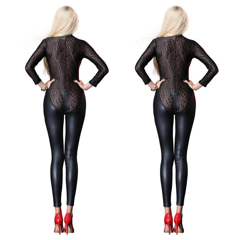 Acheter Sexy Noir Mesh Combinaison Catsuit Latex Faux Cuir Body Zipper Open  Entrejambe PVC Justaucorps Salopettes Fétiche Gothique Costumes De  33.87  Du ... a3d767c6066