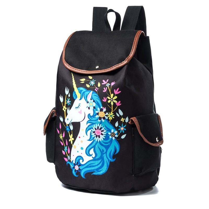d27611812fae Cartoon Horse Backpack For Women Girls Canvas Bag Flowers Wave Point  Rucksacks Travel Shoulder Bag Drawstring