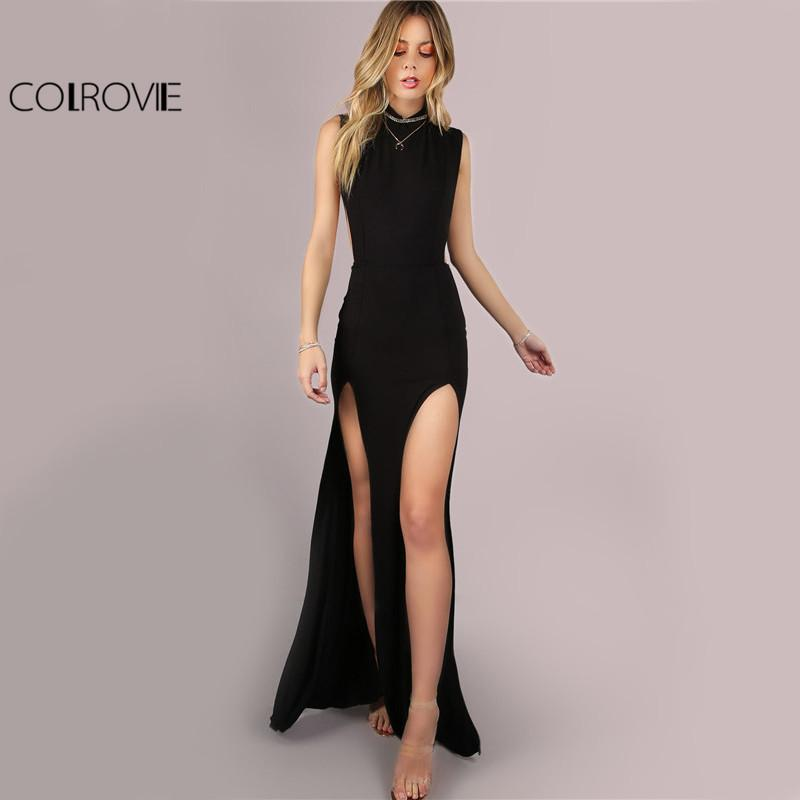 COLROVIE Black Mesh Back Maxi Party Dress 2017 Sexy Double Slit Club Women  Bodycon Summer Dresses Girl High Neck Slim Long Dress Y1890810 Womens Sun  Dress ... 3c1cba74970d