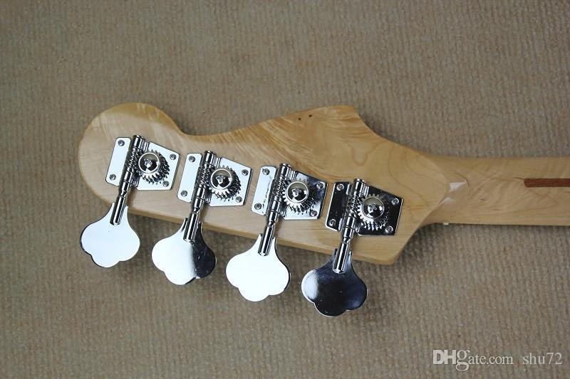 guitare usine Nouveau personnalisé fretless Maple Fretboard jazz 4 cordes blanc basse guitare inversé poupée livraison gratuite 1 2