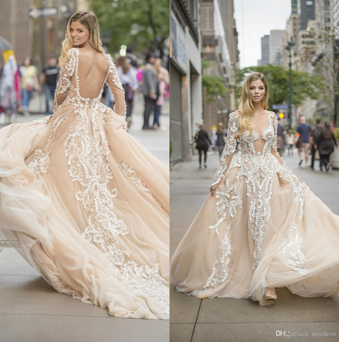 491231a96f71f Discount Pallas Couture Champagne Backless Beach Wedding Dress Sheer Jewel  Neck Modest Wedding Gowns With Long Sleeves Wedding Dresses And Prices  Wedding ...