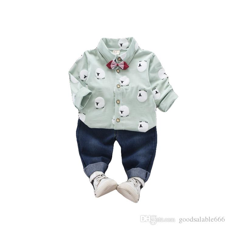 ea0fe8f64426 New Baby Boy Gentleman Sleep Shirt With Bow Tie Clothes 2018 Fashion ...