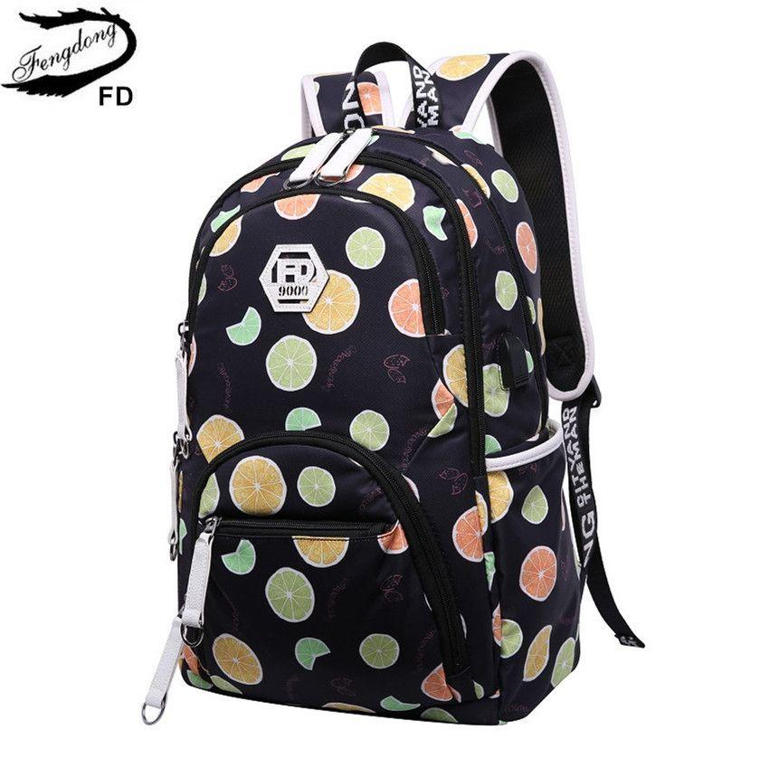 c1cfe1bf3223 Fengdong Cute Kids  Backpack Child Bag Waterproof Fruit Printing Backpack  For Children School Bags For Teenage Girls Schoolbag Y18100804 Backpack S  Girls ...