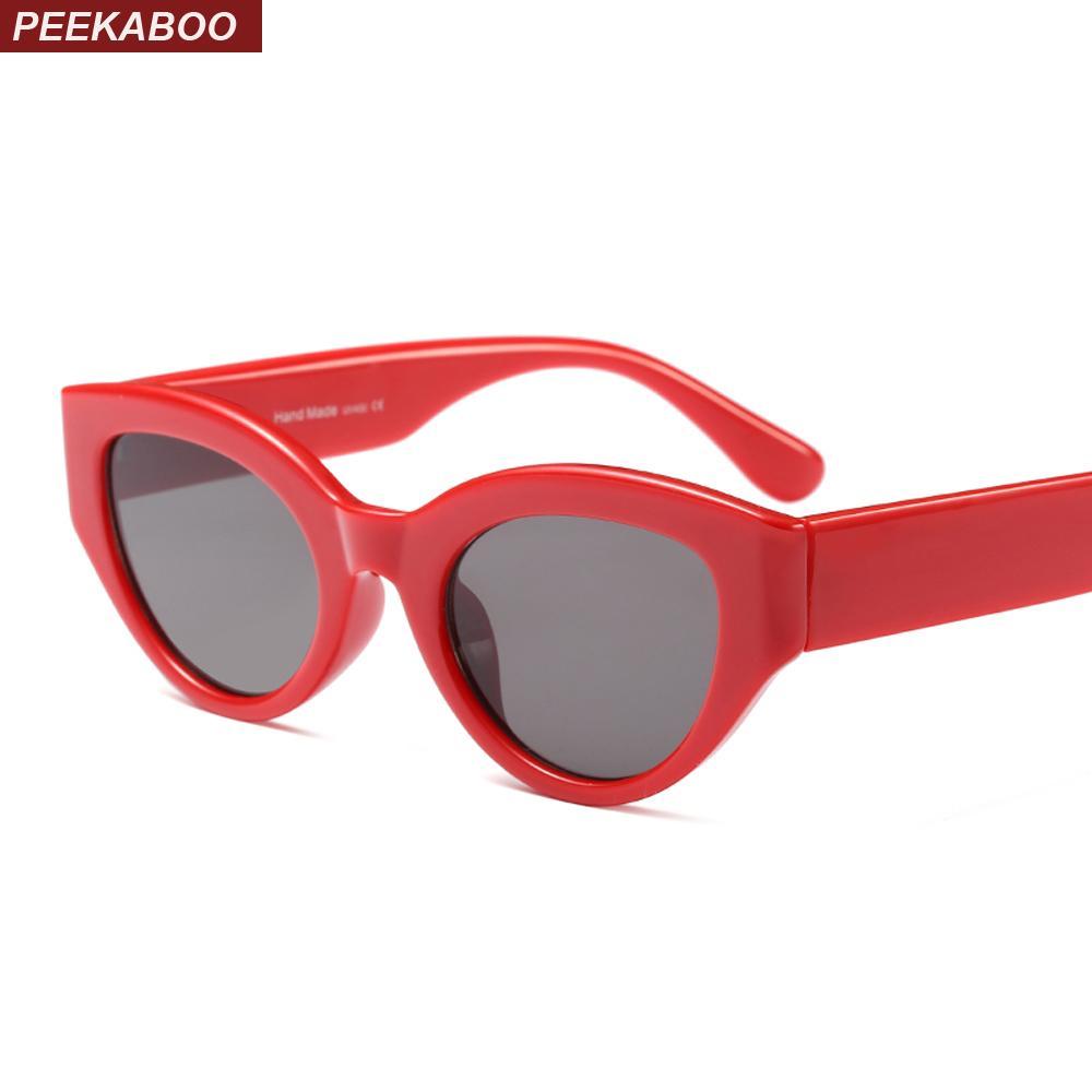84b1782d49 Peekaboo Retro Red Sunglasses Women Cat Eye 2018 Black Leopard White Cat Eye  Sun Glasses For Women Female Men Uv400 Glasses Online Polarized Sunglasses  From ...