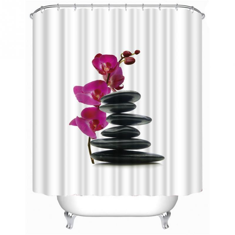 2019 Stones Flowe Shower Curtain Stylish Family Bathroom Ring Pull Easy To Install From Chenjin1451 1756