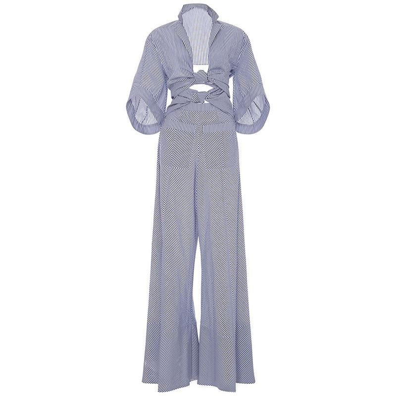 2019 Young17 Women Rompers Jumpsuit Long Pants Elegant Autumn Blue Striped  Shirts Playsuits Ladies Hollow Out Sexy Jumpsuit From Derricky,  29.74    DHgate. 44a7b58b4c