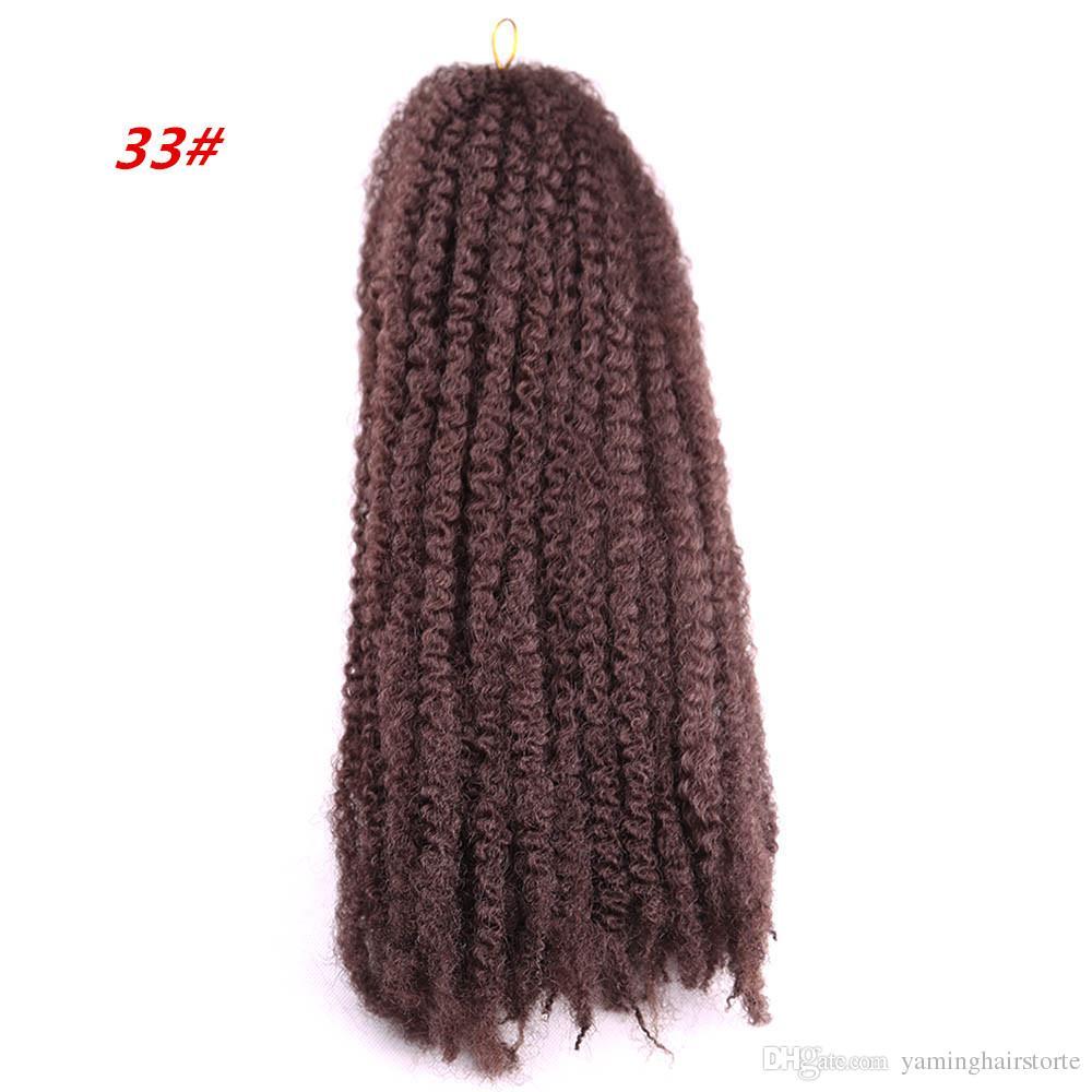 패션 뷰티 18 인치 합성 Marley 머리띠 옹 브르 붉은 갈색과 검은 색 크로 셰 뜨개질 꼰 머리 연장