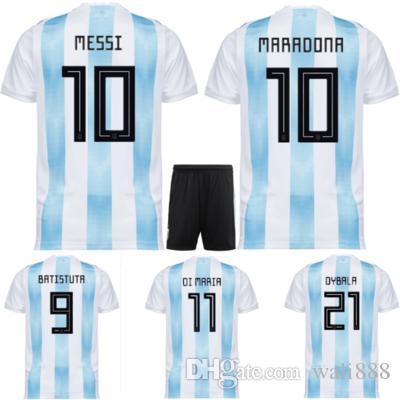 Compre 2018 Copa Do Mundo Argentina Soccer Jersey 2018 Argentina Camisa De  Futebol Em Casa   10 MESSI   19 AGUERO   11 DI MARIA Tamanho Uniforme De  Futebol ... 3b6b608165e29