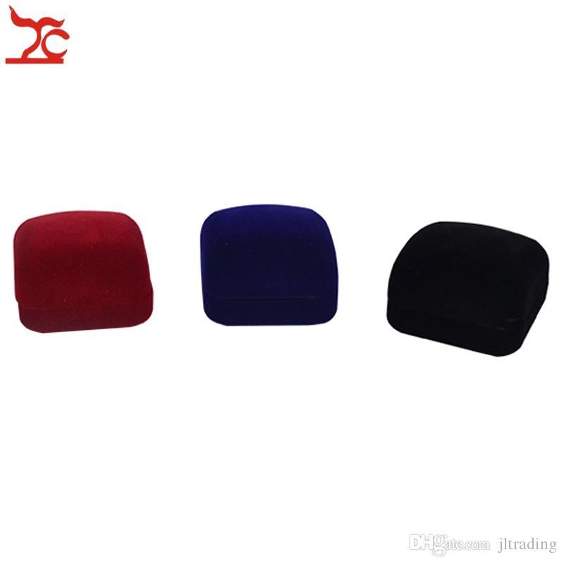 Moda Pequeño Rojo Negro Azul de Terciopelo Paquete de Joyería Bloqueada Caja de Inserción Anillo Stud Pendientes de Almacenamiento de Almacenamiento Cajas de Regalo Envío Gratis