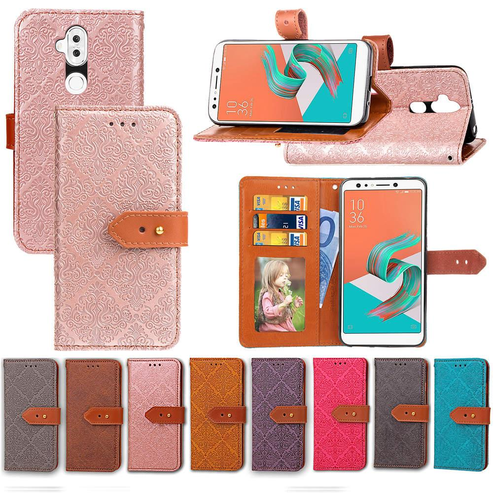 new concept 94ce8 bc980 For ZenFone 5Q ZC600KL Case PU Leather Noble Euro Fresco Design with Wallet  Card Holder Hand Strap