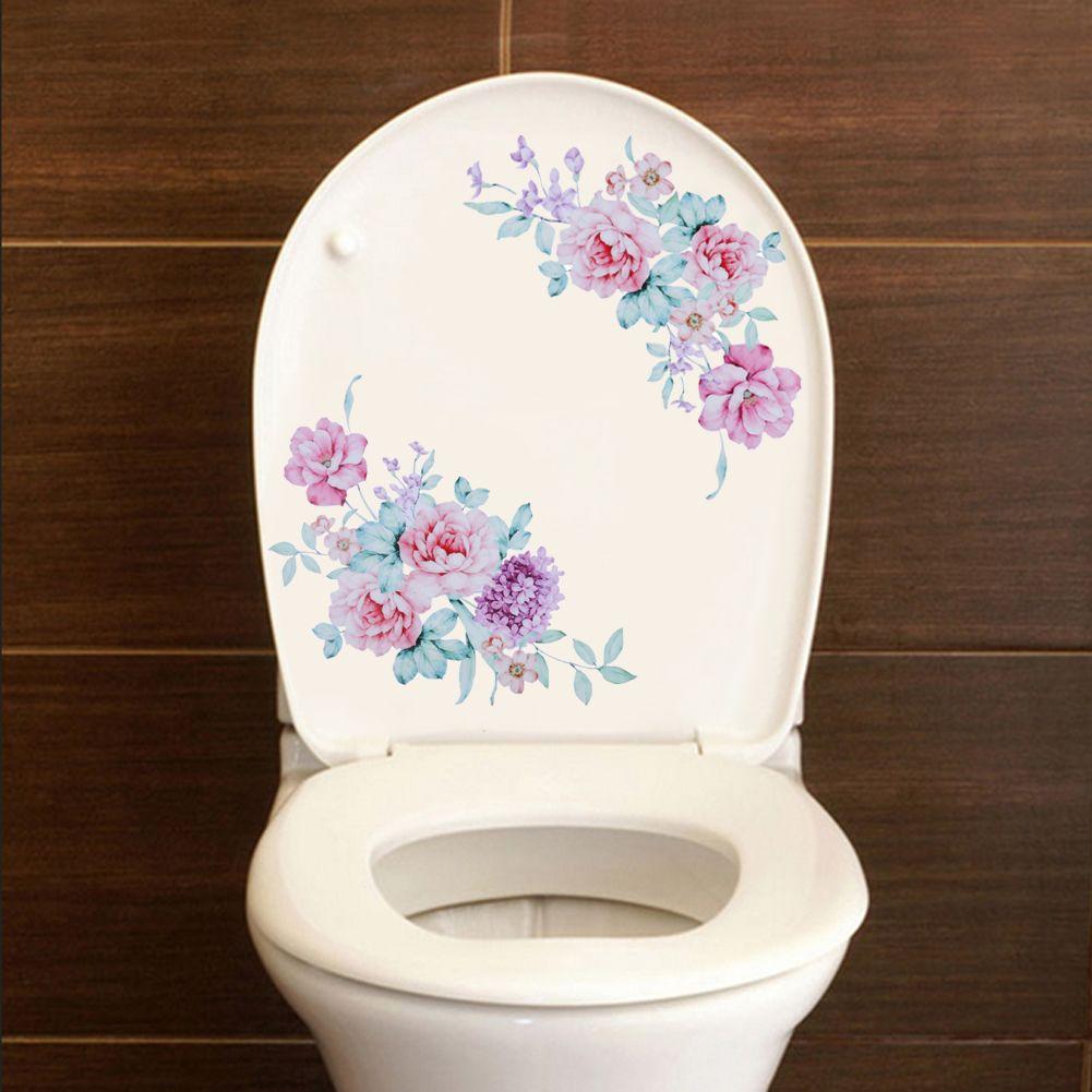 Neue Pfingstrose Wc Aufkleber Dekoration Wandaufkleber Vinyl Tapete Aufkleber für Toilette Kühlschrank Kinder Wohnzimmer Wohnkultur