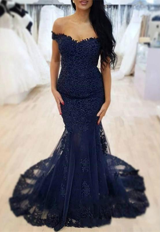 0c951ef271 Elegant Dark Blue Prom Dresses 2019 Off The Shoulder Lace Appliques Tulle  Mermaid Evening Wear Formal Party Gowns Short Lace Prom Dresses Short White  Prom ...