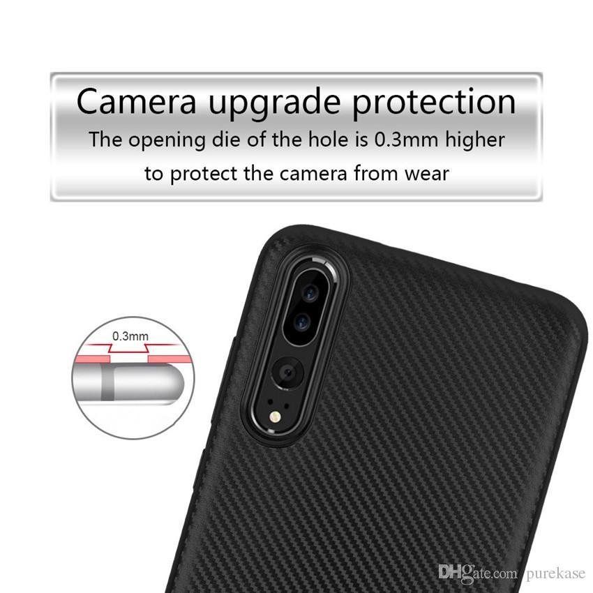 Coque de protection TPU souple ultra fine et mince en fibre de carbone PURE KASE pour Huawei P20 Pro