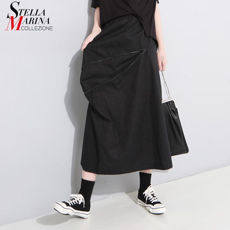 6dae07929 Nuevo 2018 estilo coreano mujeres sólido negro falda larga con bolsillo de  la cremallera cruzada cintura elástica niñas desgaste informal falda de ...
