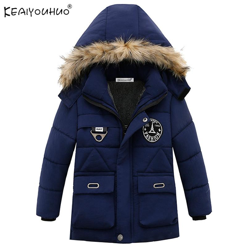 cd4ddab4f27e1 Children Clothing Winter Boys Coats Long Sleeve Down Jackets For Boys  Clothes Kids Outerwear Hooded Cotton Fashion Coats Jacket Discount Kids  Jackets Girls ...