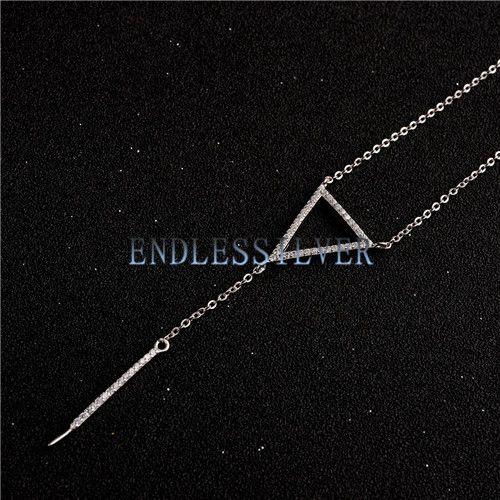 Ожерелье настройки для падения Жемчужный кулон стерлингового серебра 925 Циркон треугольник ожерелье цепь для партии жемчуга