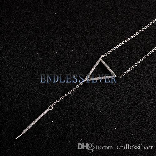 Damla inci kolye için kolye ayarları 925 ayar gümüş zirkon üçgen kolye zinciri inci parti için