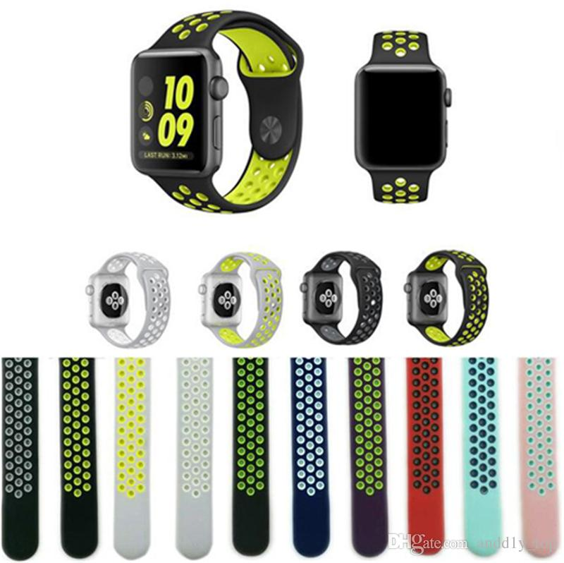 Factory Supply Hotsale Rubber Strap Watchband Brand watchband with 38mm 42mm Silicone Wristband with Watch Sport Edition holes