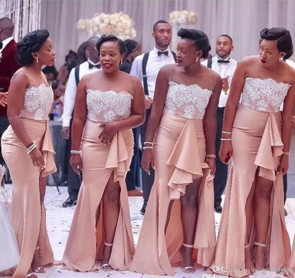 668c04a0b21 2018 Country Nigerian Bridesmaid Dresses Lace Mermaid Maid of Honor Gowns  Split Side Long Wedding Guest Dress