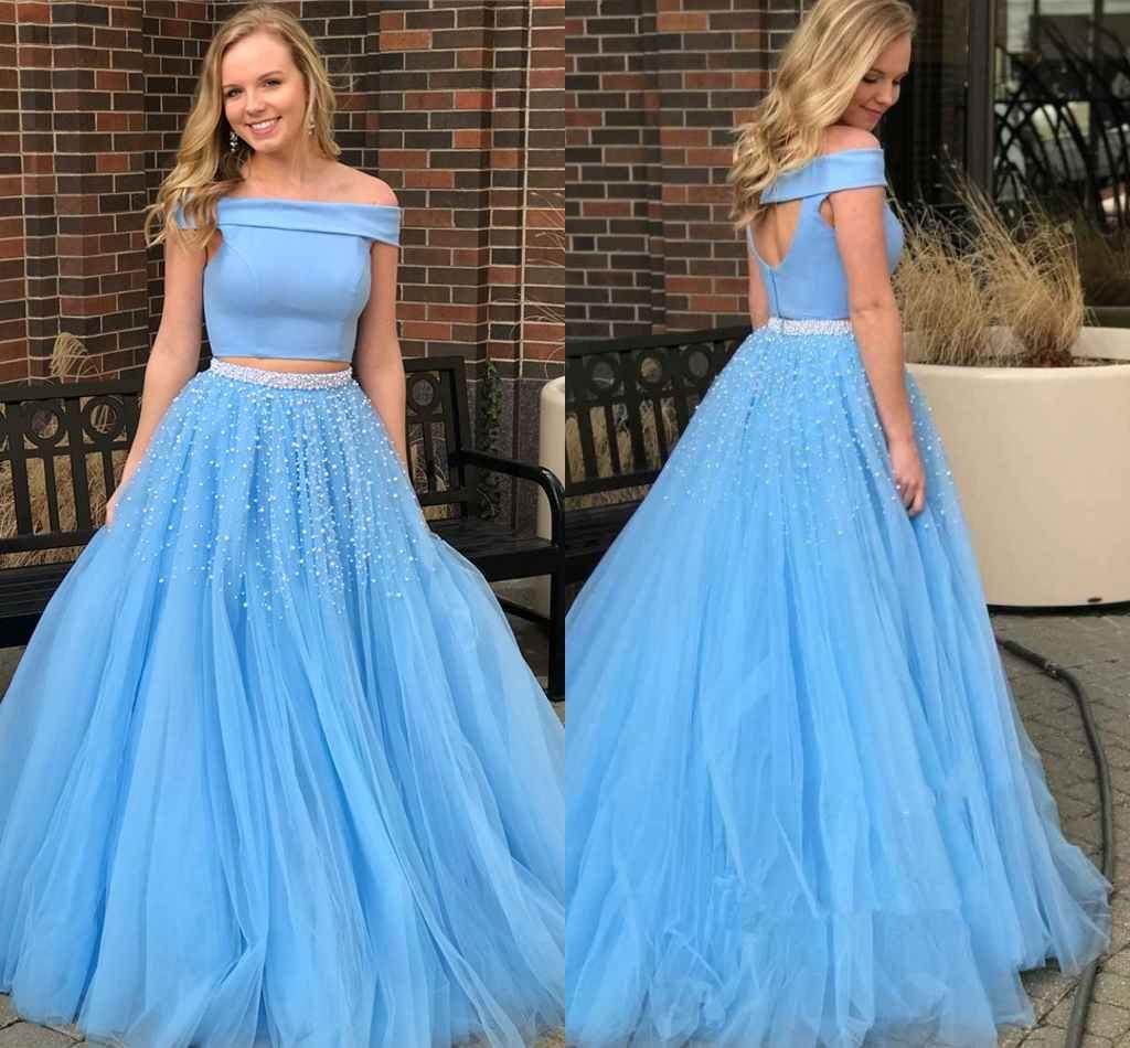 7424a9bc8b7 2018 Light Sky Blue Evening Dresses A Line Two Pieces Off Shoulder Open  Back Beaded Sequins Special Occasion Dresses Elegant Prom Dresses Designer  Evening ...
