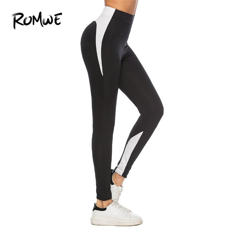 5d72075912 2019 Romwe Sport Grey Solid Colorblock Women Fitness Yoga Tights 2018  Outdoor Gym Jogging Sport Leggings Yoga Black Running Pants From Cumax, ...