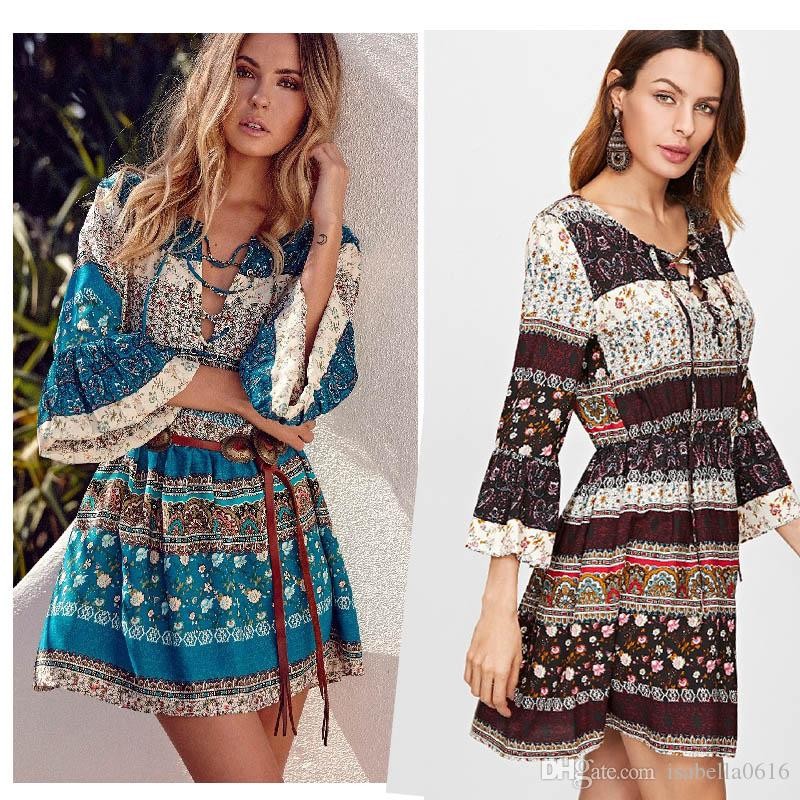 2018 Summer Ladies Bohemian Floral Beach V-Neck Dresses Gothic Tunics Half Sleeve Retro Vintage Mini Dress Sun Dress