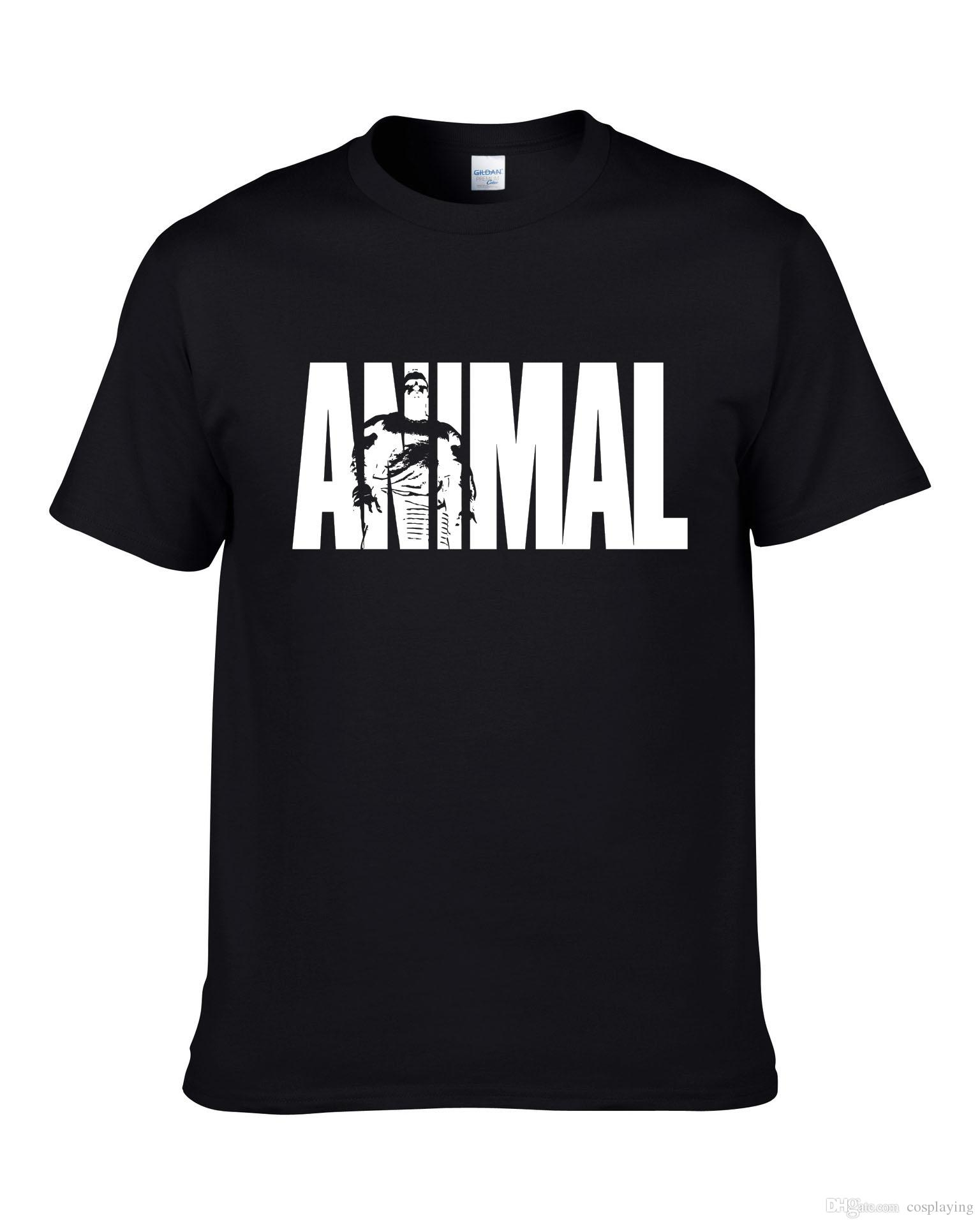 e66f6ae1fa1c Fashion Men Summer T Shirt Animal Letter Print Short Sleeved Shirt Black  Designer Sport Casual Clothes 100% Cotton High Quality Denim Shirts Design T  Shirts ...