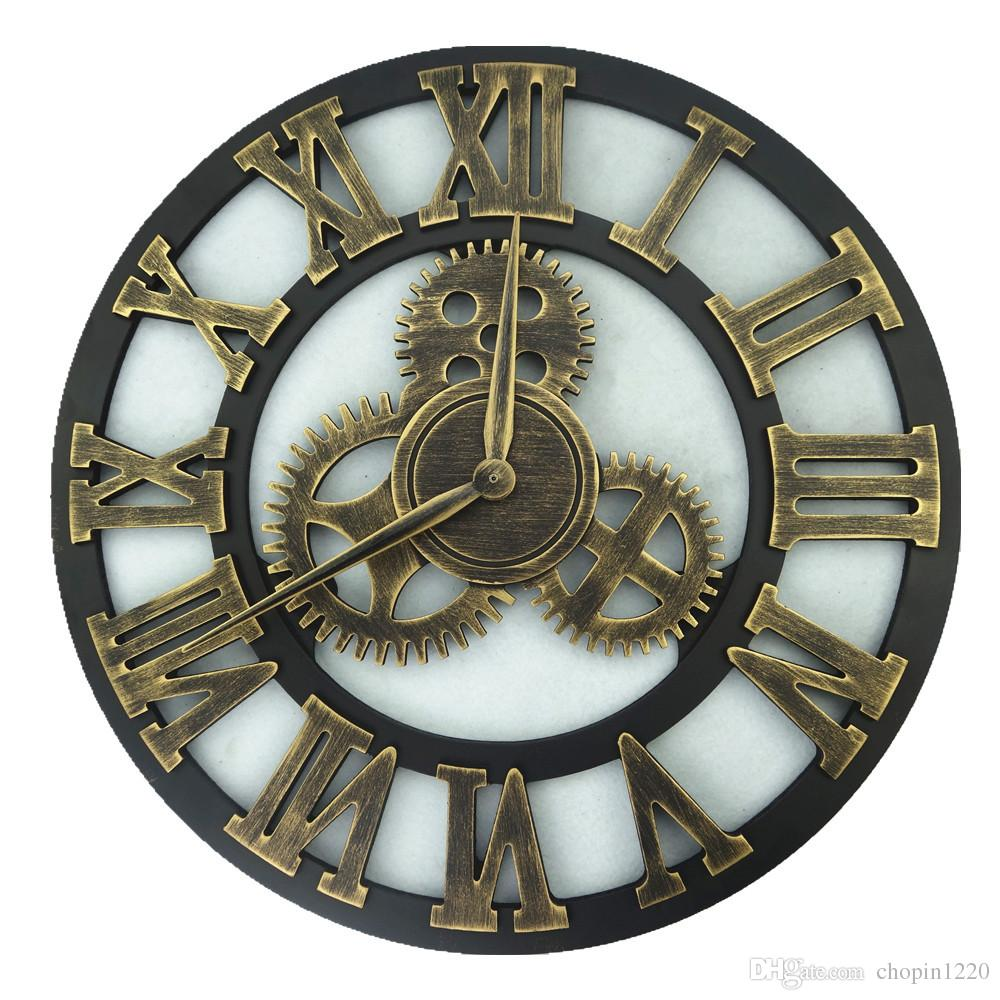New Modern Loft Kitchen Silence Wall Clock 45CM Roman Arabic Numeral Clocks  Wooden Creative Mechanical Design Horloge Home Decor Supplier Wooden Clocks  ...