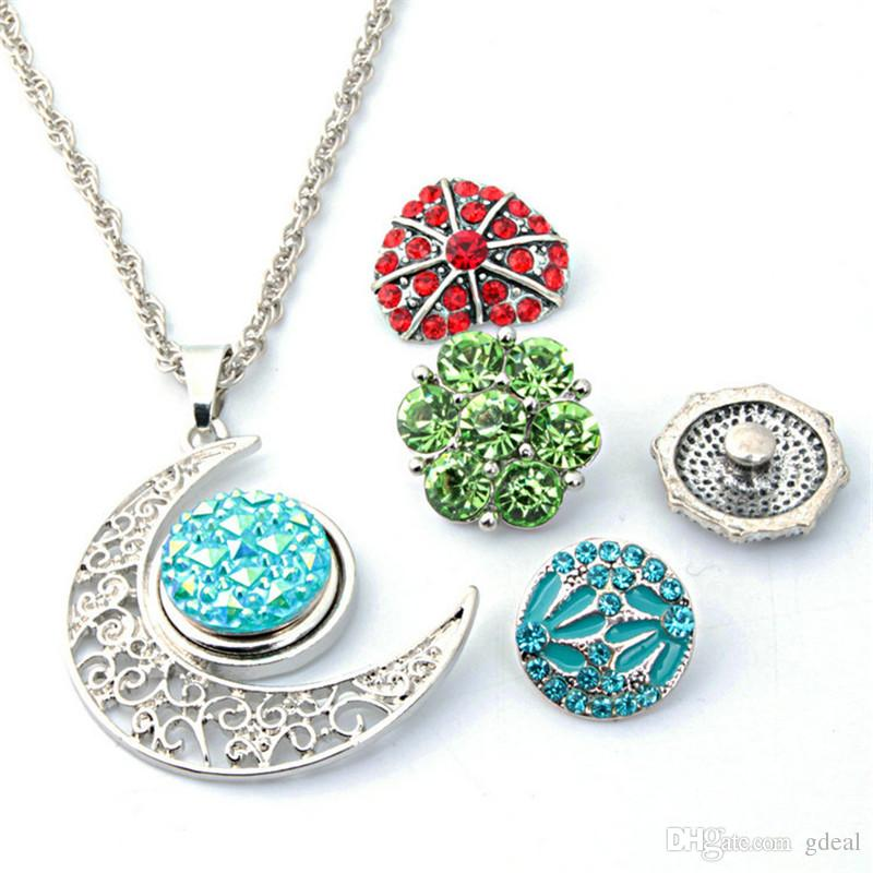 10Styles Noosa Chunk Snap Button Necklace Pendant Jewelry Personality DIY Necklace Accessories Interchangeable Pendant Hair Accessories 10