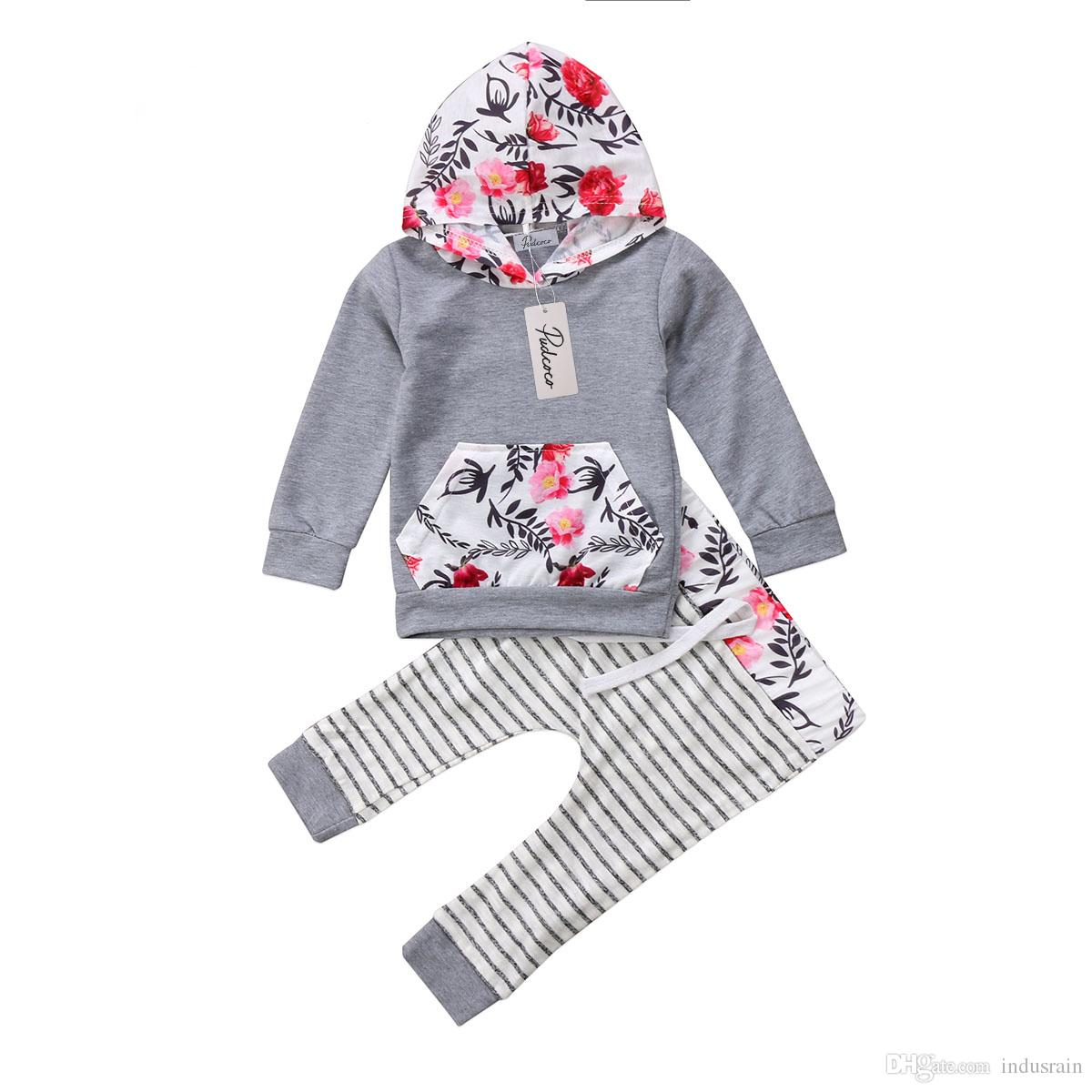 a5f94164 Spring Autumn Baby Clothing Toddler Boys Girls Hooded Floral Tops Sweatshirt  Striped Pants Clothes Outfit Set 0-18M Online with $17.49/Piece on  Indusrain's ...