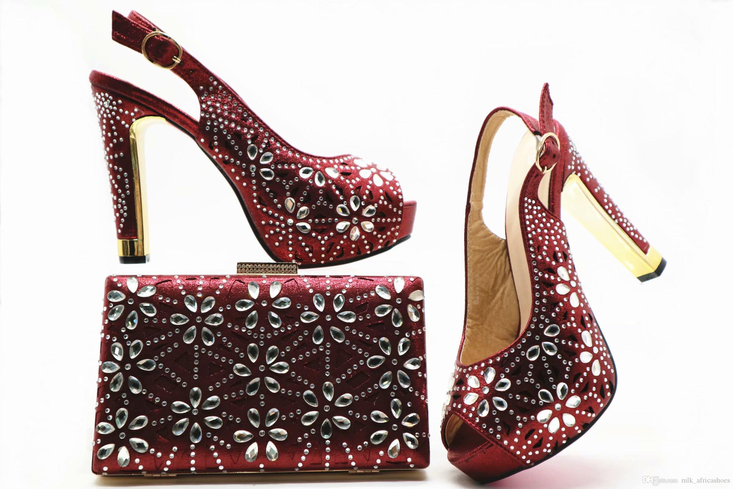 36bd663502 Italian Matching Shoe and Bag Set Burgundy Nigerian Shoes and Matching Bags  African Matching Shoes and Bags Italian In Women