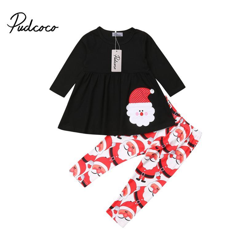 b87d2711e579 2019 Kids Girls Christmas Clothes Toddler Xmas Santa Claus Sunsuit ...