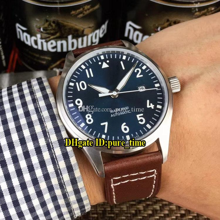 huge discount bf27a 53278 Date Grande Pilot MARK XVIII IW327004 Dark Blue Dial Japan Miyota 8215  Automatic Mens Watch Silver Case Brown Leather Strap Watches