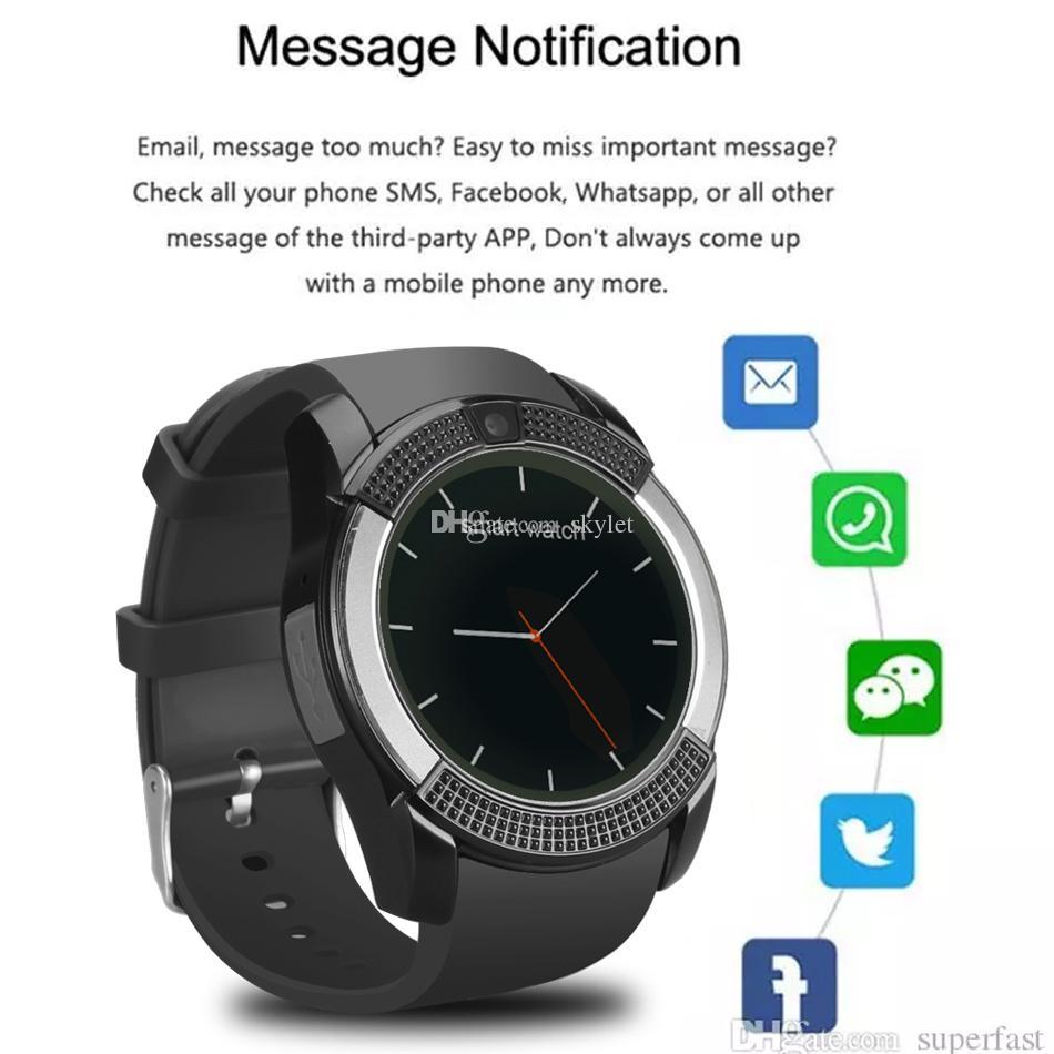Cámara inteligente reloj V8 reloj de pulsera bandas con 0,3 M SIM IPS HD Full Circle Smart Display reloj para el sistema androide con la caja