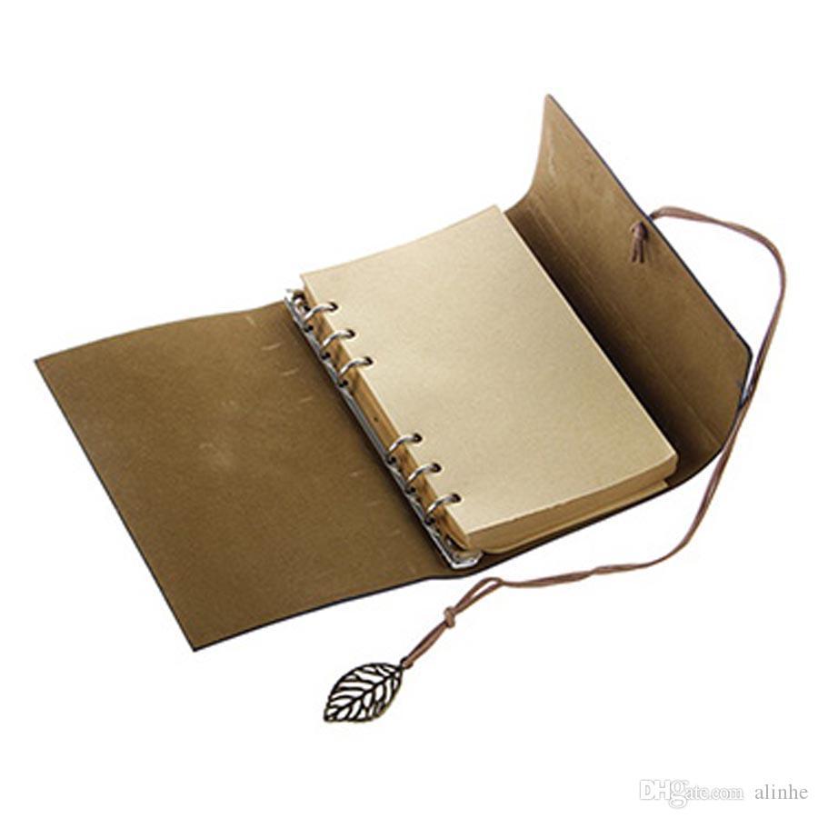 Sketchbook Stationery Agenda 빈티지 일기 노트 쓰는 주머니 책 표지 가죽 커버 느슨한 여행 일지 선물 무료 배송