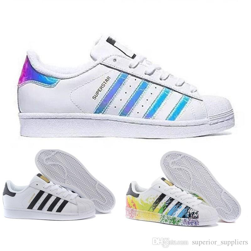brand new 3b8b6 5941b 2019 2018 Originals Superstar White Hologram Iridescent Junior Superstars  80s Pride Sneakers Super Star Women Men Athletic Running Shoes 36 45 From  ...