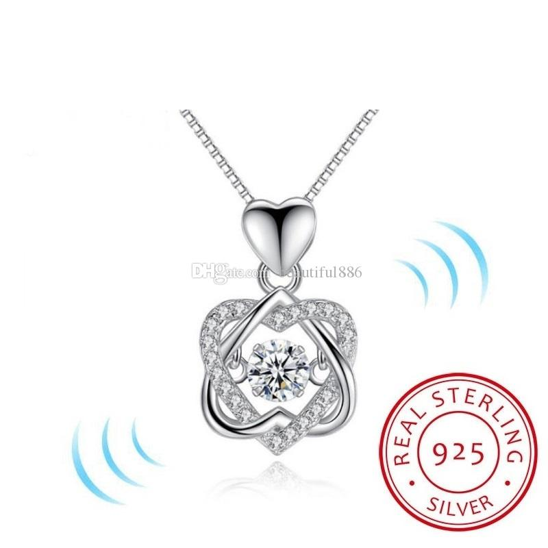 3442039a7 Popular Trendy Classic Rotate Dancing CZ Stone 925 Sterling Silver Heart Pendant  Necklace For Women Fashion Jewelry Gift For Love Rotate Dancing Stone ...
