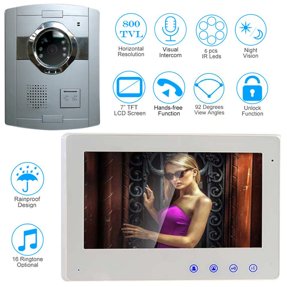 7 Inch Wired Video Door Phone Bell Intercom System Kit With Wiring Chimes In Parallel Night Vision Outdoor Monitoring For Apartment Camera Doorbell Wifi From