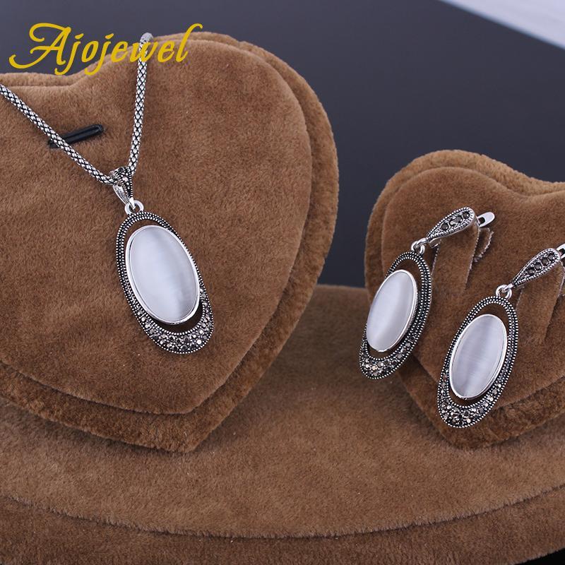 Ajojewel Yeni Varış Beyaz Opal Takı Setleri 2017 Vintage Takı Seti Taş Küpe Kolye Kolye