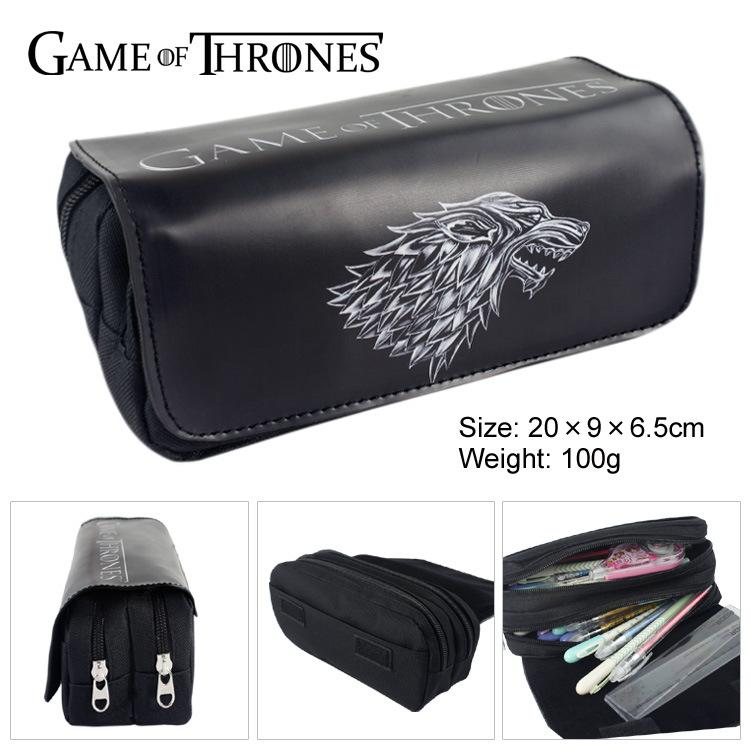 Game of Thrones Wolf Pen Bag Pencil Purse Big Capacity Double Zipper Pencil Bags Pouch Cartoon Anime Students Stationery Wallets