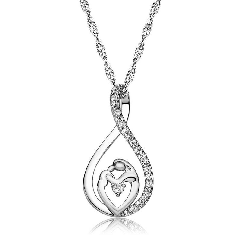 "Fashion Mother and Child Love ""Mom""Pendant Necklace for Women Fashion AAA Zircon Charm Necklace of Mother's Day Gift"