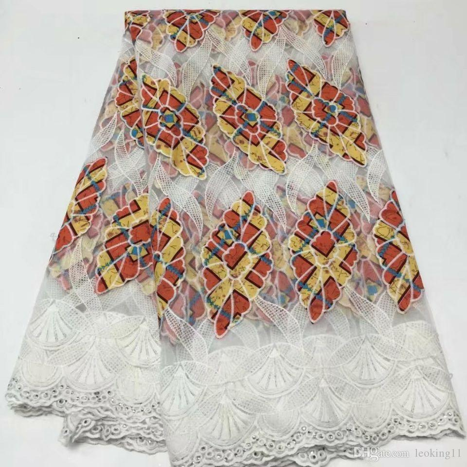 5Yards / bordado de encaje de seda de la leche africano amarillo estilo maravilloso PC y tela de algodón de color púrpura para el vestido BM3-4